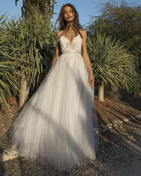 rustic wedding dresses a line with spaghetti straps lace top beach asaf dadudsh