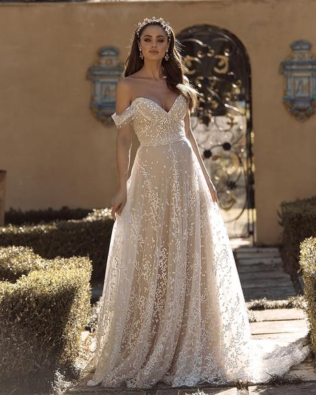 rustic wedding dresses a line off the shoulder sweetheart neckline beach madi lane