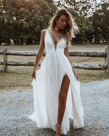 rustic wedding dresses a line with spaghetti straps beach boho grace loves lace