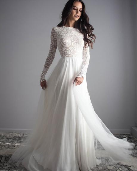 rustic wedding dresses a line with long sleeves lace top wearyourlovexo