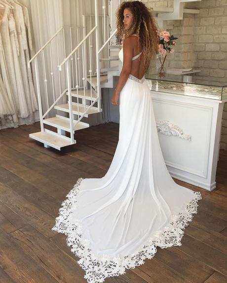 rustic wedding dresses sheath open back with train lace asafdadushbridal
