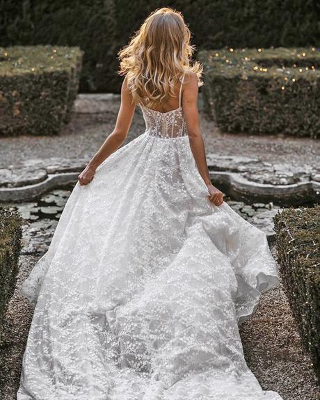 rustic wedding dresses a line with spaghetti straps lace bohemian allurebridals