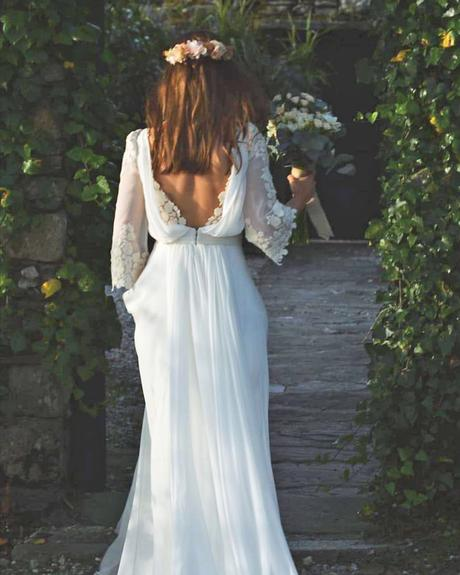 rustic wedding dresses with sleeves low back country cayetanaferrer