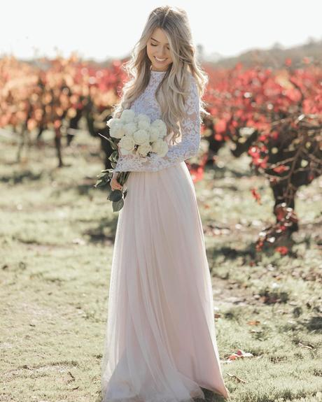 rustic wedding dresses a line with long sleeves lace top blisstulle
