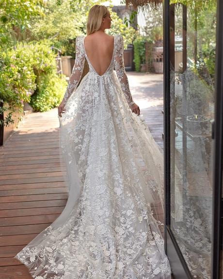 rustic wedding dresses a line v back with long illusion sleeves lace neta dover