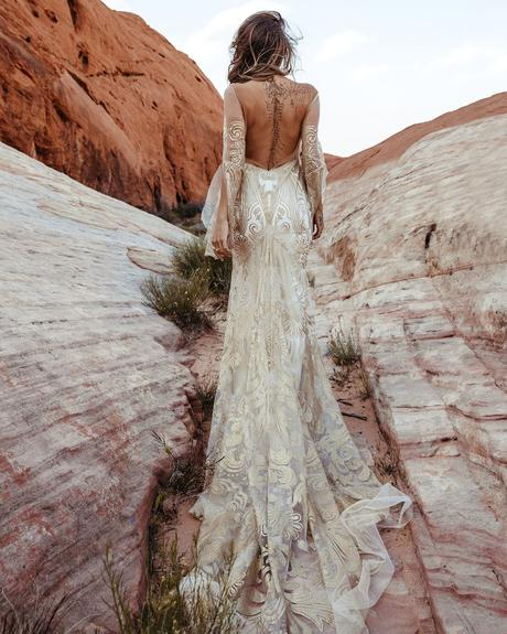 rustic wedding dresses sheath with illusion long sleeves backless train ruedeseine