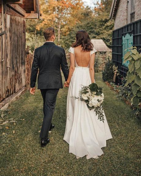 rustic wedding dresses a line low back with cap sleeves marinahuberfotografie