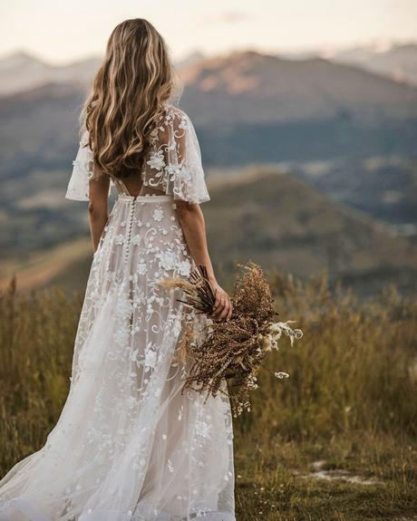 rustic wedding dresses a line low back with cap sleeves floral appliques anna campbell