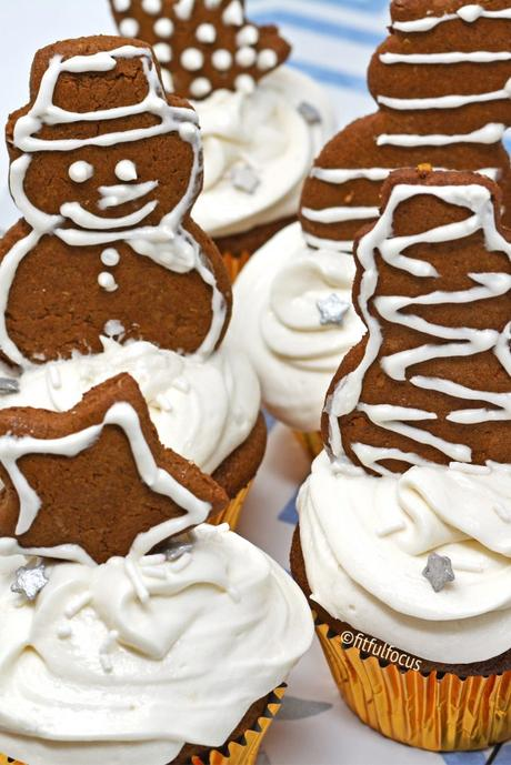 Gluten Free Gingerbread Cupcakes with Dairy Free Cream Cheese Frosting