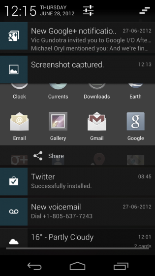 Notifications on Jelly Bean