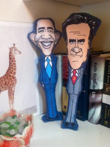 Dogs get to vote with their bite on these chew toys of Obama and Romney: designs by Ella & Anni