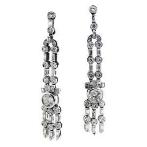 vintage diamond earrings, platinum and diamond earrings, vintage earrings boca
