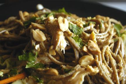 Asian Chicken Salad with Peanut Sauce and Soba Noodles