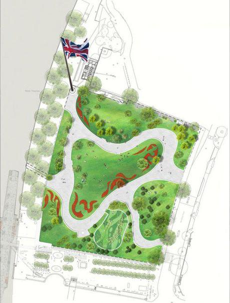 Plan of Jubilee Gardens, London - © West 8 urban design & landscape architecture