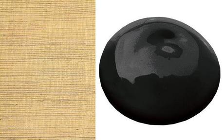 Black Paint and Grasscloth Wallpaper