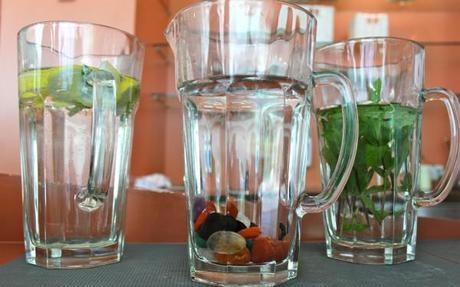 hotel and spa bleibergerhof water jugs