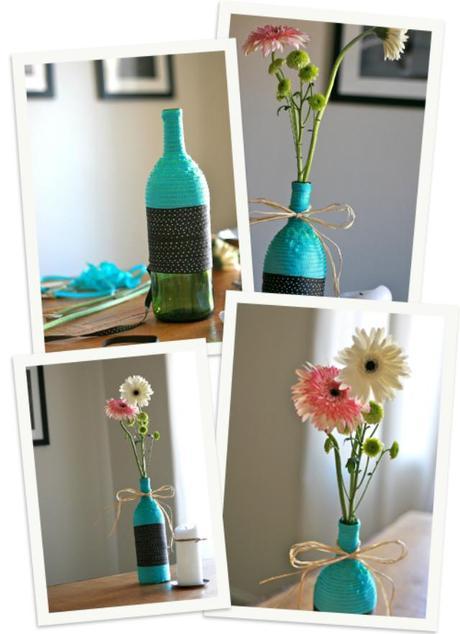 Diy ribbon wrapped wine bottle vase paperblog for Wine bottle flower vase