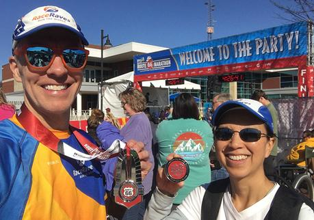 Mike Sohaskey and Katie Ho finish line selfie at the Route 66 Marathon