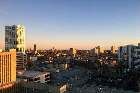 Bird's eye view of downtown Tulsa at dusk