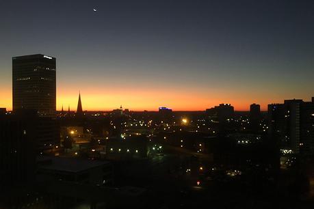 Bird's eye view of downtown Tulsa at dawn