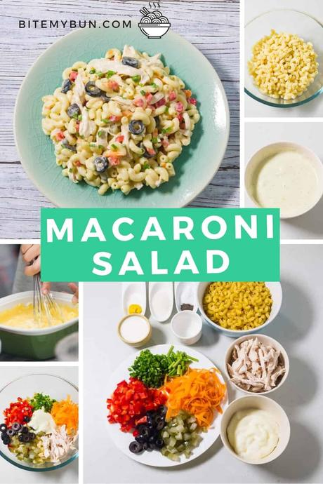 Filipino macaroni salad with condensed milk