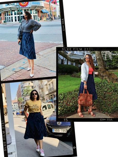 Three Ways To Style Denim Skirt Tanvii.com