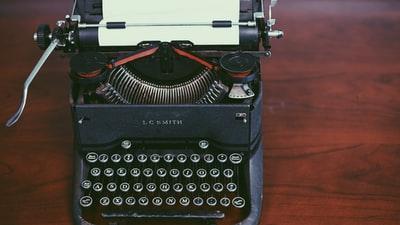 typewriter, keyboard, paper, letters, work, desk