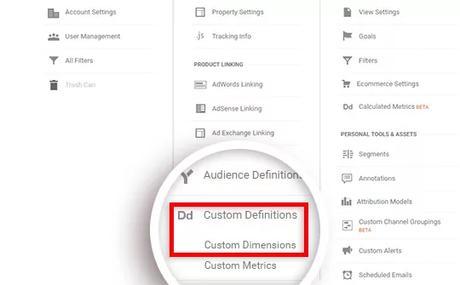 ga custom dimensions settings