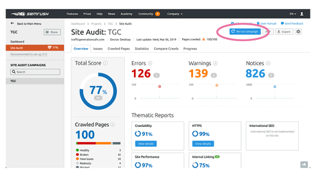 How to rerun SEMrush Site Audit to see better scores