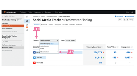 How to select competitors in SEMrush Social Media Tracker