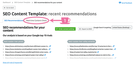 Find SEMrush SEO Writing Assistant Real-time Content Check tab