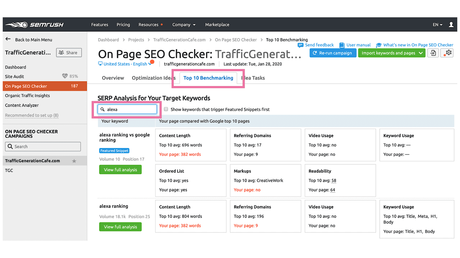 What Top 10 Benchmarking tab in SEMrush On Page SEO Checker can do