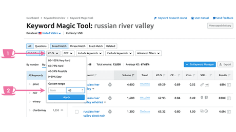 In Keyword Magic Tool apply Keyword Difficulty filter