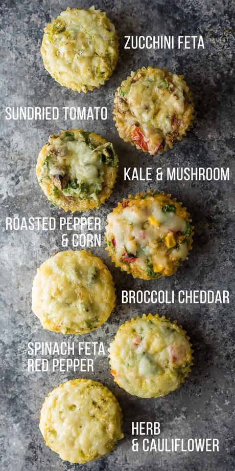 A variety of seven egg muffins with labels on gray counter