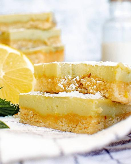 Gluten Free Lemon Bars with Coconut Custard (Vegan)