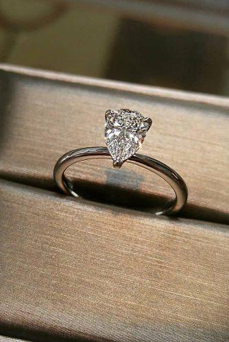 engagement ring trends 2019 pear cut diamond solitaire simple ring