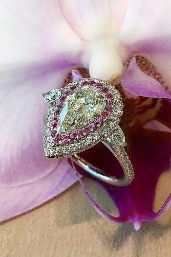 engagement ring trends 2019 pear cut halo three stones diamond