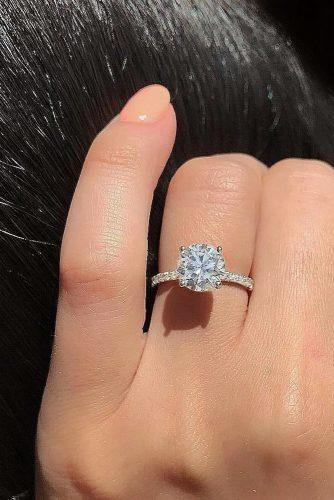 engagement-ring trends 2019 simple pave band white gold solitaire bridal ring