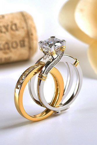 engagement ring trends 2019 modern wedding set yellow white gold