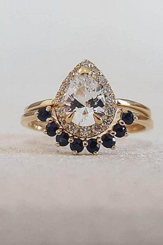 engagement ring trends 2019 wedding set pear halo gold