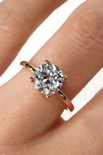 engagement ring trends 2019 rose gold simple round cut diamond solitaire