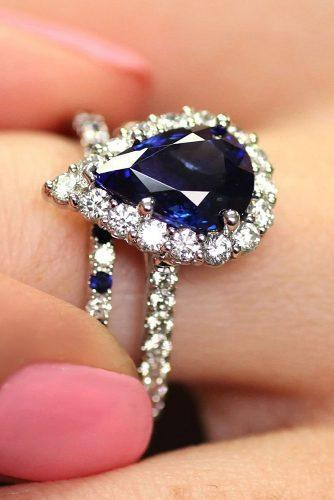engagement ring trends 2019 sapphire pear cut halo