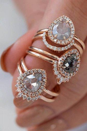 engagement ring trends 2019 pear cut gold halo rose gold