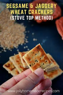 Sesame and Jaggery Wheat Crackers | Gud Paara (Baked and Stove Top Method)