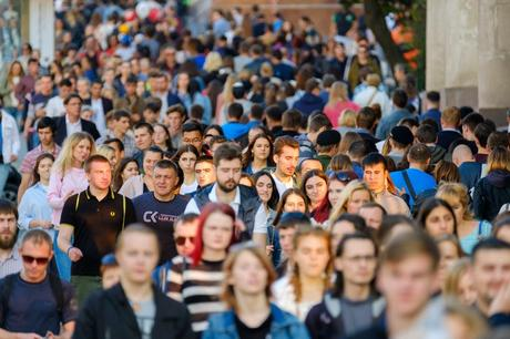 people walking on a crowded street