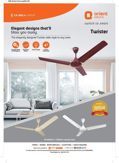 An Affordable Range of Fans launched by Orient Electric