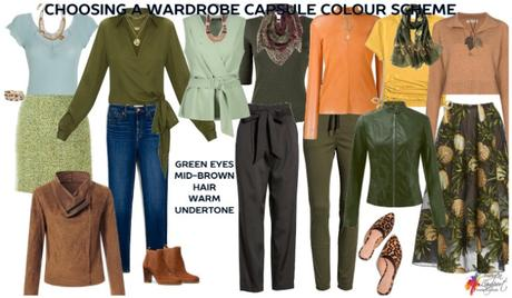 Wardrobe capsule colour scheme for green eyes and brown hair