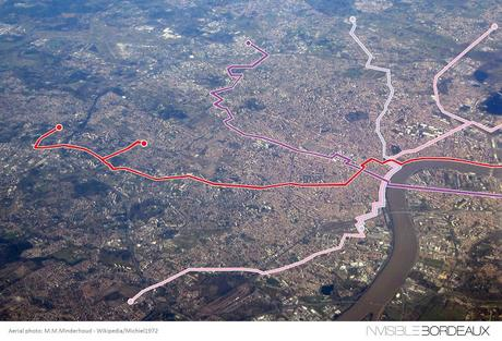 The Bordeaux tram network viewed from a plane