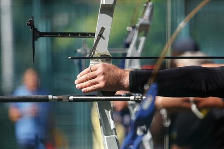 Archers shooting longbows