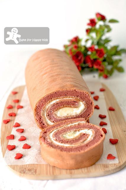 cottony soft red velvet chiffon Swiss roll light cream cheese filling